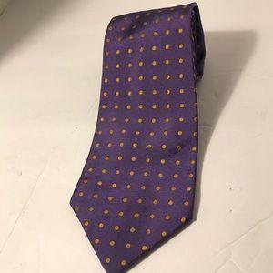 Ralph Lauren men's Neck Tie purple yellow dots